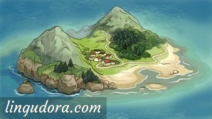 A small island in the middle of the sea is shown from a bird's eye perspective. There are two mountains and a village situated in the valley between them. Paths are leading from the village past a forest up one of the mountains and along a beach.