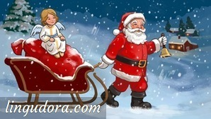 Santa Claus is dragging a sleigh through a snowy landscape towards a distant house. In his left hand Santa is holding a bell. The sleigh is charged with a bag of presents and an angel sitting on top.